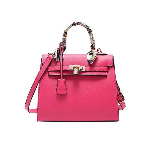 Bolso Chica Tisdaini de Rosa Moda Moda Piel Dama Mano Bolso Bandolera PU Roja Grande Bolso Capacidad zwAPqRrz