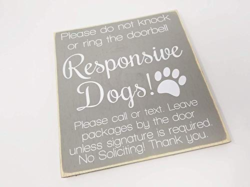 (Emily 12 x 12 Inch No Soliciting Responsive Dogs Do Not Disturb Do Not Knock Do Not Ring The Doorbell Leave Package No Sales No Solicit Antique Cabin Wall Art Decoration Plaque Sign )