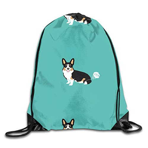 (Blue Naughty Tricolor Corgi Drawstring Bag Stylish Cute Print Lightweight Sackpack Sport Gym Bundle Backpack Theme Novelty Outdoor Classic)