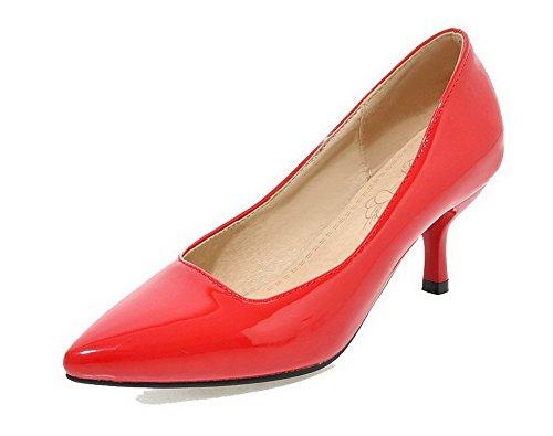 VogueZone009 Damen Spitz Zehe Mittler Absatz Lackleder Rein Ziehen auf Pumps Schuhe Rot