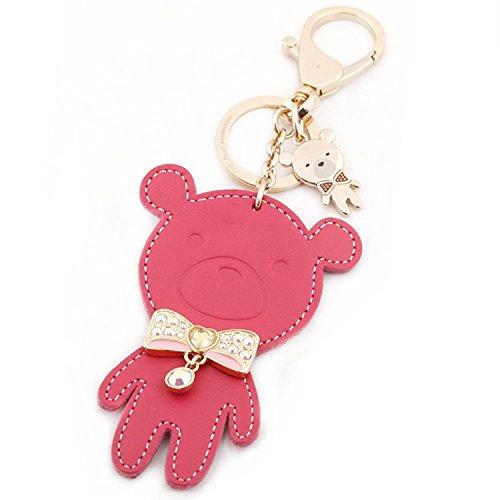 Mini Leather Key Tag - Cute Fashion Teddy Bear Leather Key Ring Keychain Mini Bag Charm Keyring