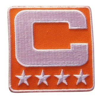 Orange Captain C Patch Iron On for Jersey Football, Baseball. Soccer, Hockey, Lacrosse, Basketball ()