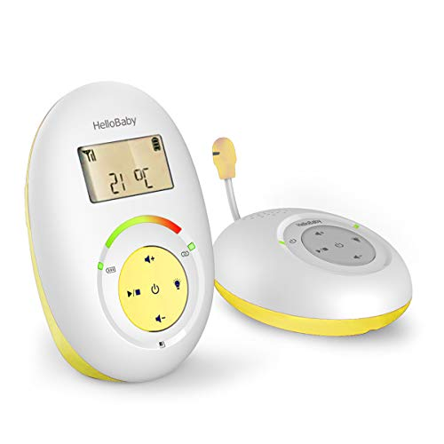 HelloBaby HB180 Two-Way Audio Baby Monitor with Temprature Sensor, Sound Alert, Lullabies & Night Light, Long Range Transmission, Two-Way Talk Back Feature
