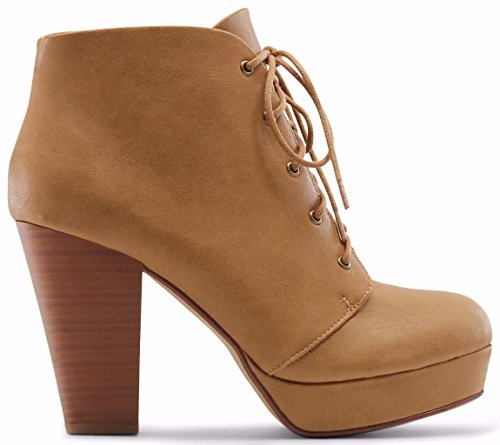 Marco Republic Budapest Platform Chunky Block Stacked Heels Ankle High Pumps Booties Boots - (Camel) - 9