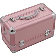 Hiker HK3101 Professional Makeup Artist Cosmetic Train Case Organizer Storage 3-Tray Brush Holder, Smooth Pink, 1-Count