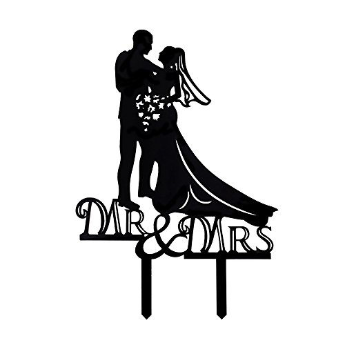 Ecape Romantic Wedding Cake Toppers Bride And Groom With Art Words Mr Mrs