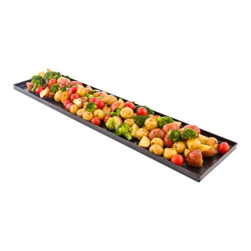 - Black Rectangular Plate, Food Tray, Plate with Raised Sides - Wood Grain Pattern - 23.6