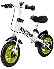 ENKEEO Balance Bike No Pedal with Bell and Hand Brake for 2-5 Year Old Kids, 50kg Capacity (White, 10 inch)