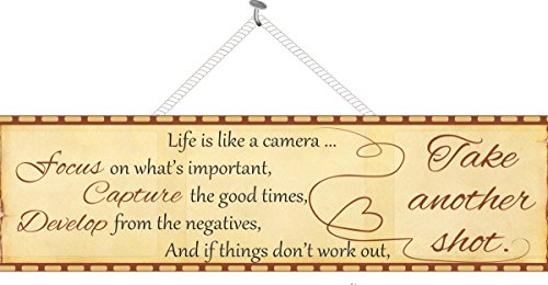 Life is Like a Camera Photography Inspirational Sign with Film Strip Border – Fun Sign Factory Inspirational Wall Art
