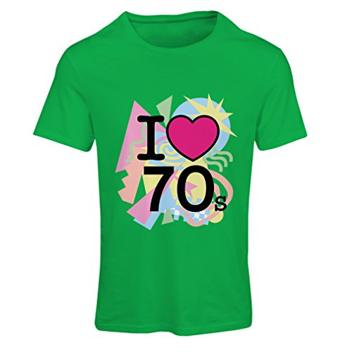 T Shirts For Women I Love 70's - Vintage Style Clothing (Large Green Multi - Vintage Indie Clothing Inspired