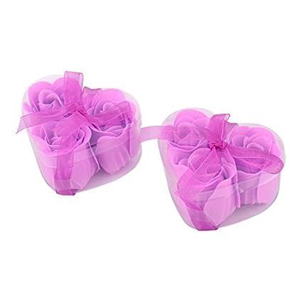eDealMax Corazón Regalo del Festival Diseñado caja Artificial Artificial Wash Soap Flor púrpura 6pcs Luz