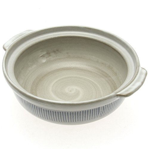 Kotobuki 190-994D Donabe Japanese Hot Pot Shigaraki Brushstroke Design Casserole Pan (Serves 4 to 5), White