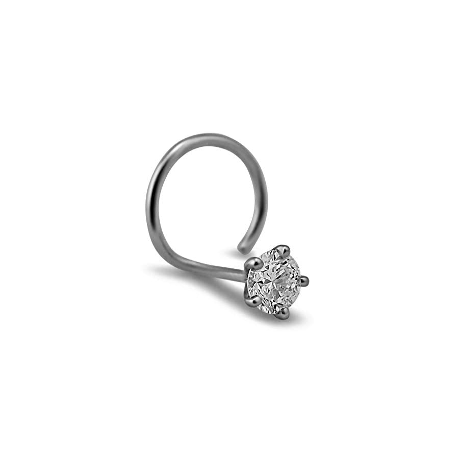 3.0mm 0.10 cttw White Diamond 18K White Gold Nose Ring/ Screw Pin (Gauge = 22G)