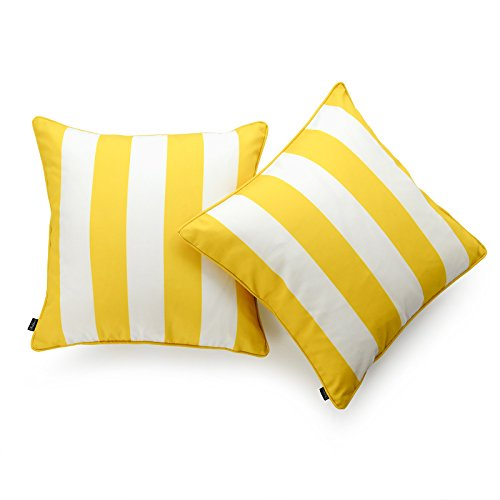 (Hofdeco Decorative Throw Pillow Cover INDOOR OUTDOOR WATER RESISTANT Canvas Vibrant Yellow Stripes 18