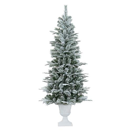 LordofXMAS Slim Artificial Christmas Tree, Potted 6.5' Realistic Pine with 336 Branch Tips 150 LED Warm Clear Lights, Flocked White on Green (Trees Christmas Small Potted)
