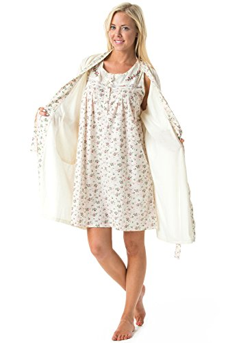 Casual Nights Women's Sleepwear 2 Piece Nightgown and Robe Set - Off White - X-Large ()