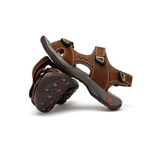 Brown Playa Cuero Hombres De Ocasionales Zapatillas De Sandalias LYZGF Jóvenes Respirables De De Moda Verano x6PfYwZq