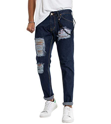 Tasca Pantalone Uomo Giosal Cinque Denim Catena Cotone Strappato Tasche Rotture Scuro Jeans Quadri E6EqSw58