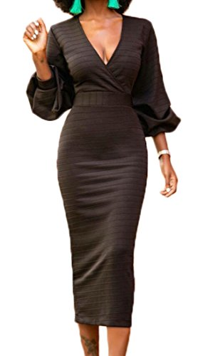 Dress Long Black Solid Color Domple V Wrap Neck Womens Sleeve Bodycon Long Cocktail qYwP7v
