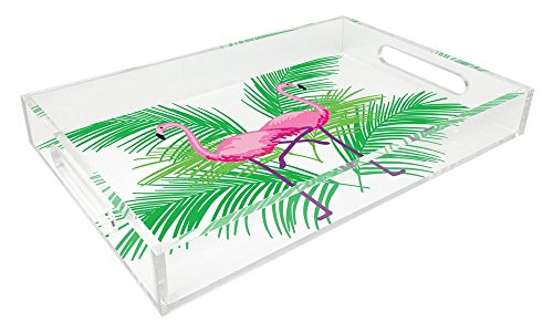 Isaac Jacobs Acrylic Tray (11x14, Pink Flamingo) (Kitchen Tray Acrylic)