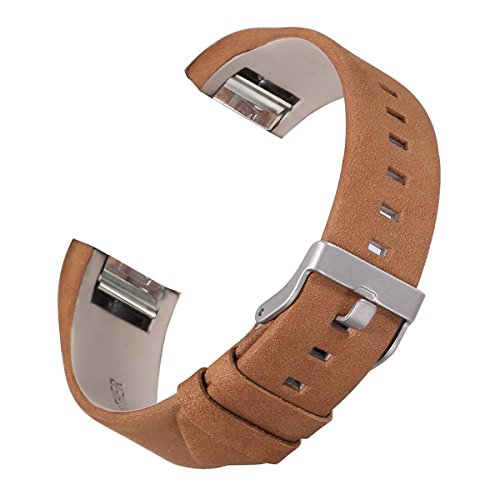 bayite Leather Bands Compatible with Fitbit Charge 2, Replacement Accessories Straps Women Men, Suede Brown