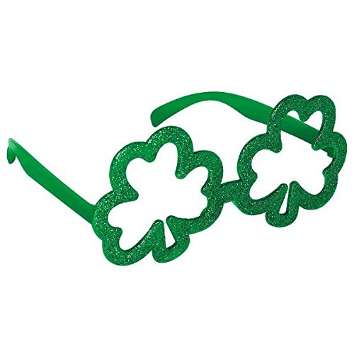 Amscan Shamrock Shape Glitter Eye Glasses St. Patrick's Day Costume (1 Piece), Green, 4.4