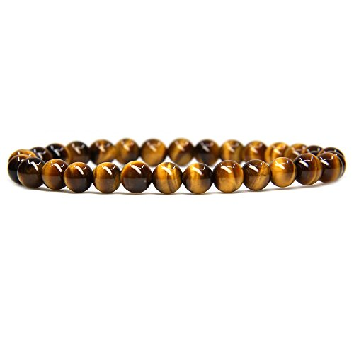 Tiger Eye Gemstone Charm - Natural AA Grade Golden Tiger Eye Gemstone 6mm Round Beads Stretch Bracelet 7