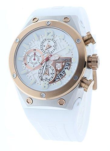 Chronograph White Gold Watch - Technosport TS-820-2 Unisex Chronograph White Watch Rose Gold Bezel GMT