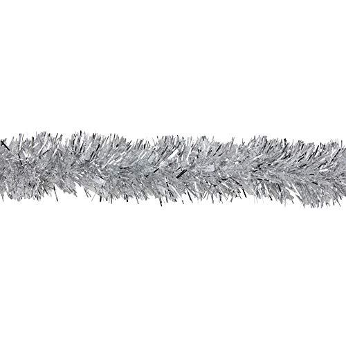 (Northlight 12' Soft Iridescent Silver Spiral Christmas Tinsel Garland - Unlit)