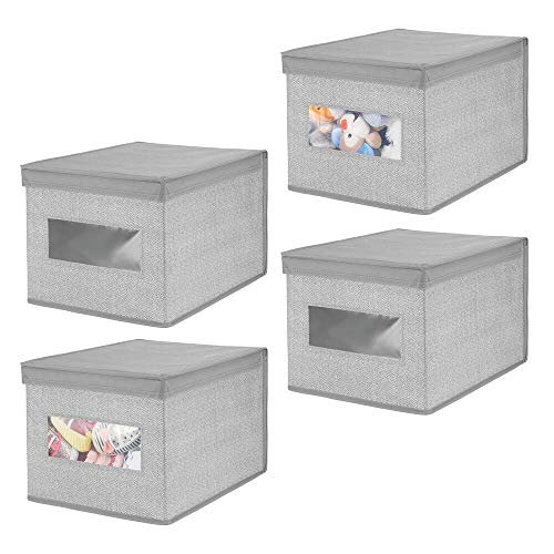 Herringbone Bow - mDesign Decorative Soft Stackable Fabric Closet Storage Organizer Holder Bin Box Container - Clear Window, Lid, for Baby. Child/Kids Room, Nursery - Large, Foldable - Herringbone Print, 4 Pack - Gray