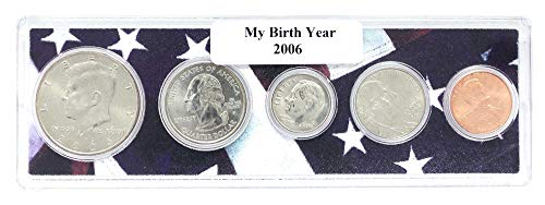 Set Coin Holder - 2006-5 Coin Birth Year Set in American Flag Holder Uncirculated