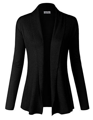 Black Womens Cardigan (BIADANI Women Classic Soft Long Sleeve Ribbed Collar Open Front Cardigan Sweater Black,)
