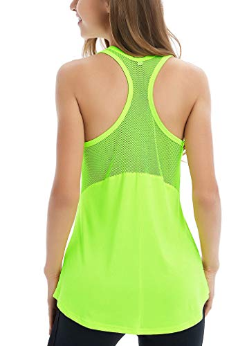 Fihapyli Women's Sleeveless Yoga Shirts Workout Tank Tops Actives Breathable Mesh Backless Tank Yoga Tops Workout Shirts Running Workout Clothes for Womens Racer Sport Tanks Activewear Green S]()
