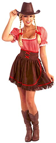 Cowgirl Costumes Adults (Forum Novelties Women's Cowpoke Cutie Costume, Red/Brown, One Size)