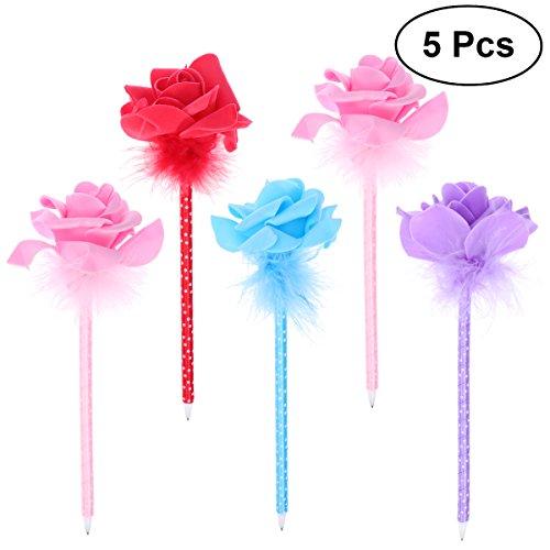 NUOLUX 5Pcs Cute Rose Decor Ballpoint Pen Office School Supplies Students Children Gift -