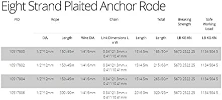 Titan Anchor Rode Pre-Spliced G43 ISO HT Chain with 8-Strand Plaited Nylon Rope