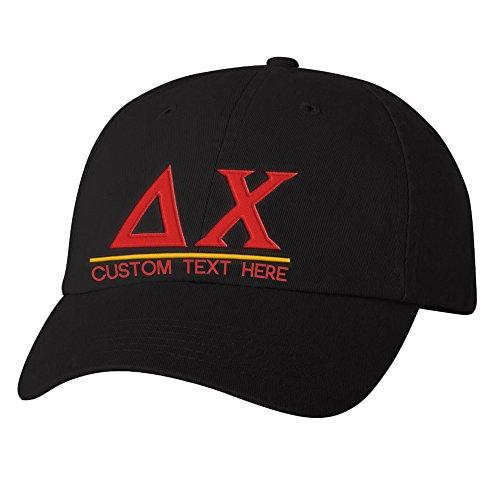 Personalized Delta Chi Greek Line Hat Black ()