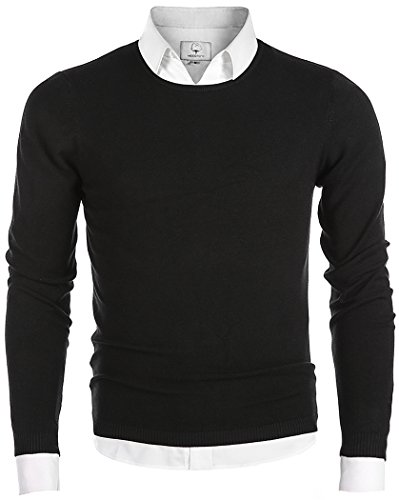 MOCOTONO Men's Long Sleeve Crew Neck Pullover Knit Sweater Black - Knit Crewneck Sweater