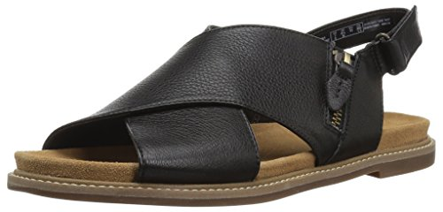 CLARKS Women's Corsio Calm Flat Sandal, Black Leather, 5 Medium US by CLARKS