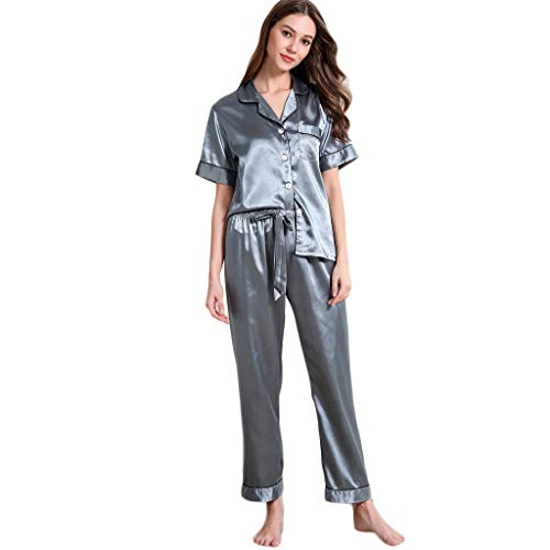 Mexican Pine Armoire - TIANMI Womens Short Sleeve Long Pants Button Comfy Solid Short Loose Nightwear Casual Sleepwear Sets Gray