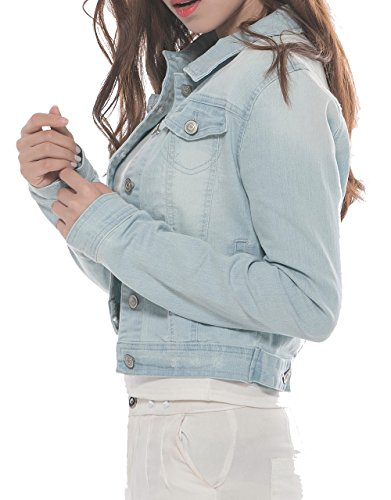 PERHAPS U Women's Short Cropped Denim Jacket Button Front Long Sleeves Jean Jackets for Women (XX-Large, Light Blue) by PERHAPS U (Image #3)