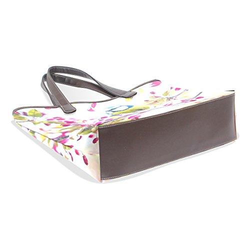 COOSUN Womens Spring Bird Pu Leder Große Einkaufstasche Griff Umhängetasche