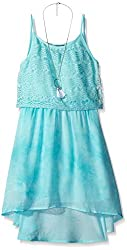Amy Byer Big Girls Lace Popover with Tye Dye Gauze Skirt, Coral, 7