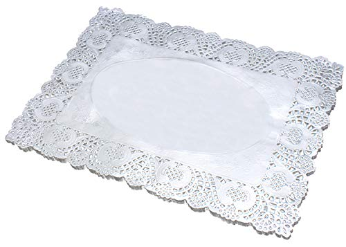 Gold Paper Doilies - 100-Pack Rectangle Decorative Paper Placemats Bulk for Cakes, Desserts, Baked Treat Display, Ideal for Weddings, Formal Event Tableware Decoration (Silver, 11.8''x15.7'') (Rectangle Placemat)