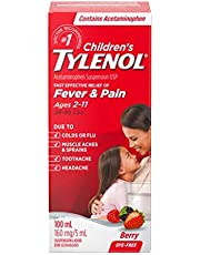 Tylenol Children's Liquid for Fever and Pain Relief, Berry Flavour, Dye Free, 100 mL Acetaminophen for Headache Pain, Muscle Ache Pain