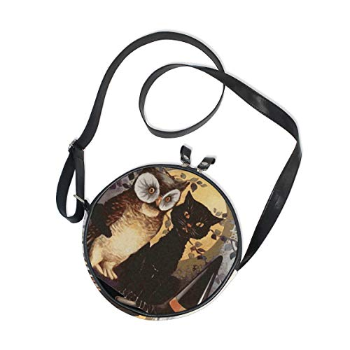 AHOMY Halloween Black Cat Owl Witch Broom Women Round Bag Kids Crossbody Circle Purse Canvas Bag
