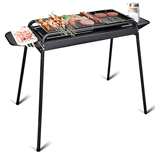 (Giantex BBQ Grill Charcoal Barbecue Cooker Portable Home Outdoor Camping Picnics Grill w/Adjustable Legs Stainless Steel Mesh Non-Stick Tray Removable Charcoal Basin (BBQ Grill w/Adjustable Legs))