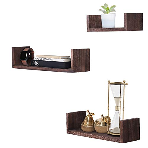 Rustic Wall Mounted U-Shaped Floating Shelves – Set of 3 – Large, medium and Small – Screws and Anchors Included - Farmhouse Shelves for Bedroom, Living Room and more –Rustic - Living Room Decor Brown