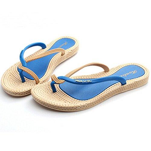 Minetom Damen Sommer Schuhe Böhmen Strand Sandelholz Thongs Slippers Flip  Flops Blau ...