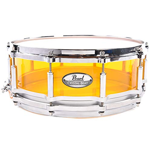 Pearl 5x14 Crystal Beat Acrylic Free Floating Snare Drum Tangerine Glass